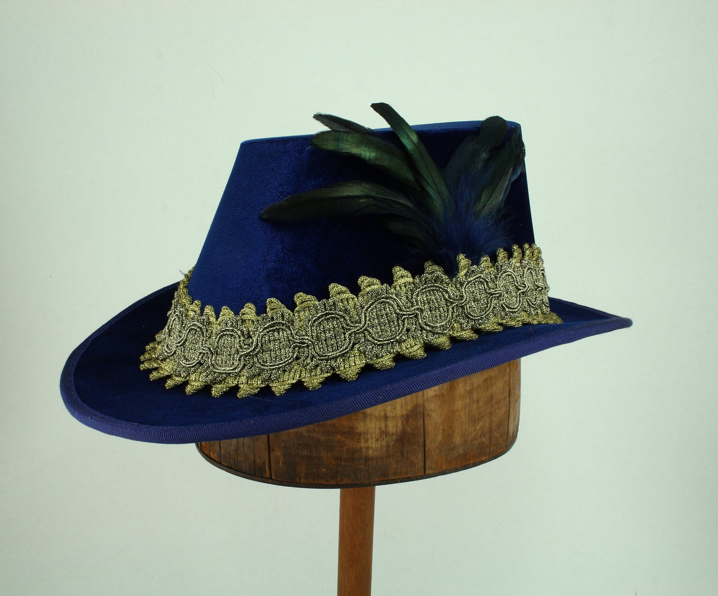 Tall Hat - Blue / Gold Smooth Velvet - Tall Toad