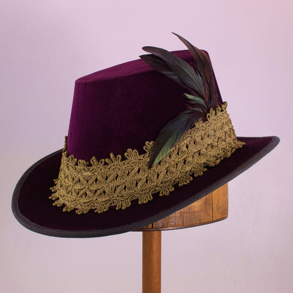 Tall Hat - Eggplant / Gold Smooth Velvet - Tall Toad