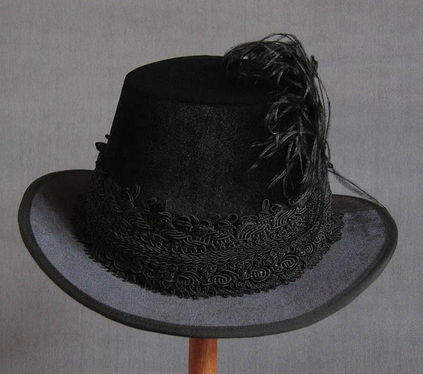 Tall Hat - Black / Black Smooth Velvet - Tall Toad