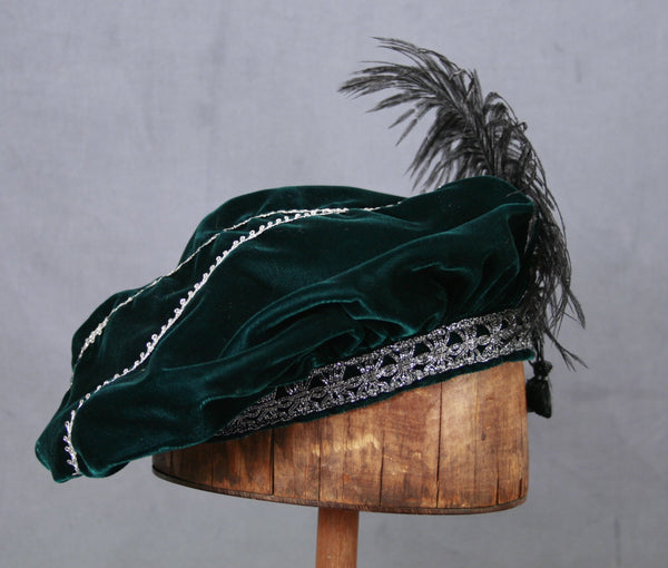 Feathered Beret - Teal / Silver - Tall Toad