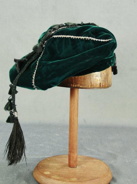 Tasseled Beret - Teal / Silver - Tall Toad