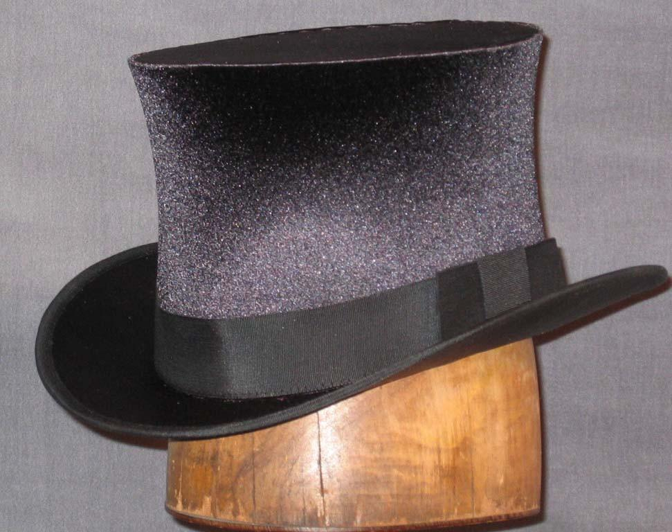 Top Hat - Black Stretch Satin - Tall Toad