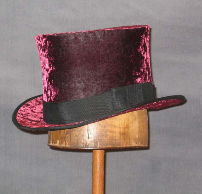 Top Hat - Wine Crushed Velvet - Tall Toad