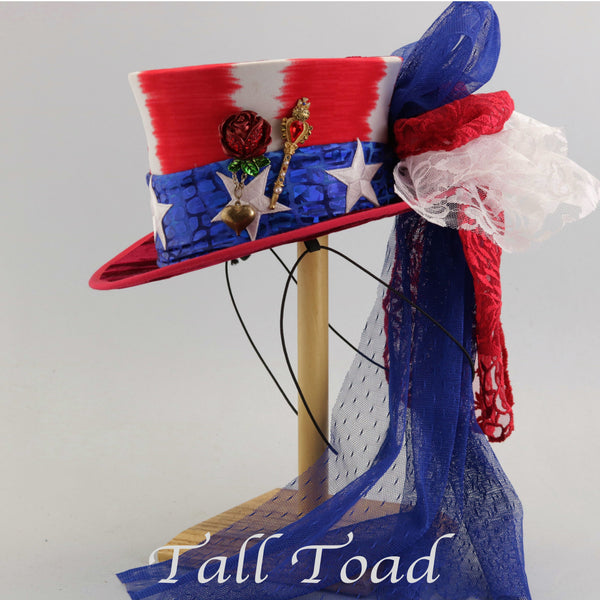 Mini Top Hat - Patriotic Stars and Stripes - Tall Toad