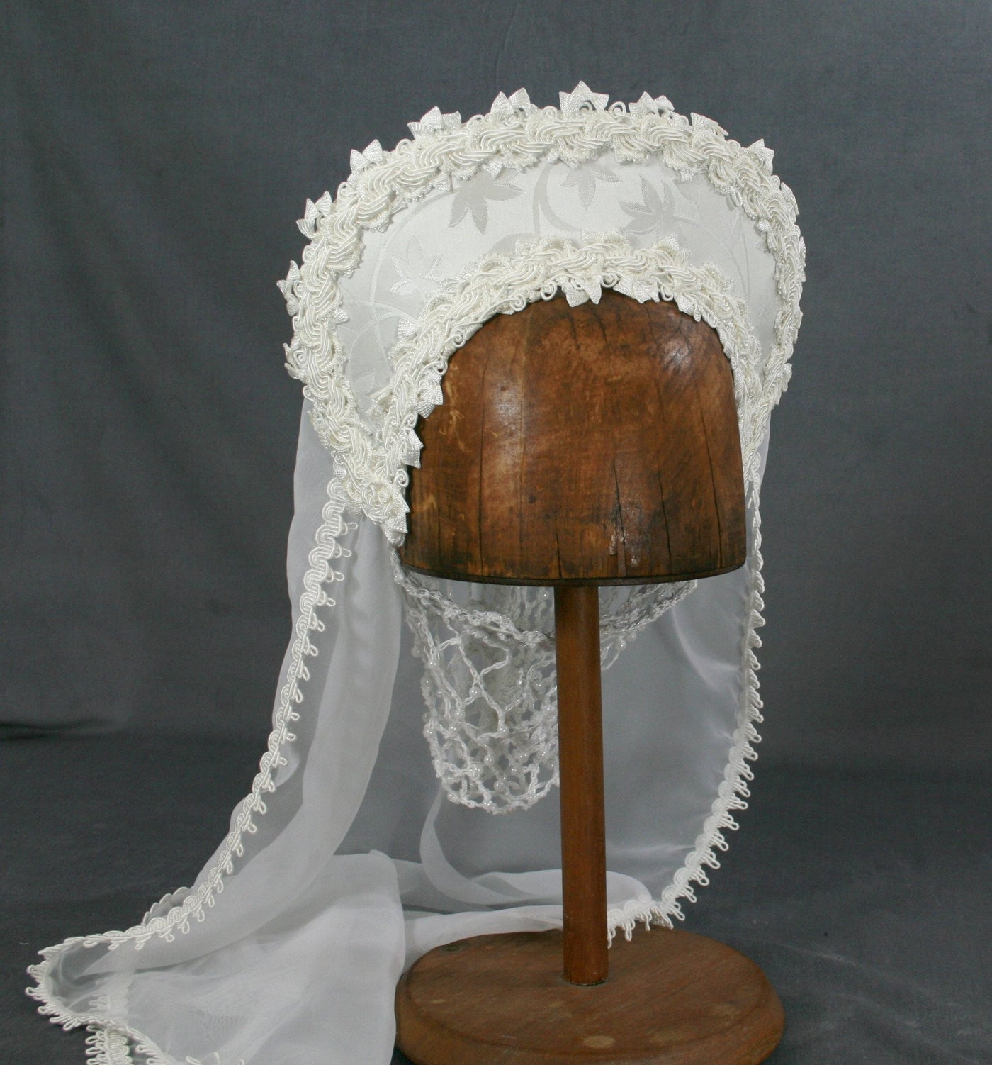 Large French Hood - White Brocade / White Trim / White Veil - Tall Toad