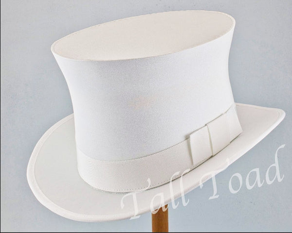 Top Hat - White Stretch Satin - Tall Toad