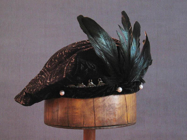 Pearled Willoughby Beret - Black / Gold - Tall Toad