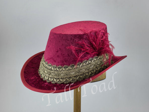 Crushed Velvet Tall Hat - Wine / Gold / Gold Black - Tall Toad