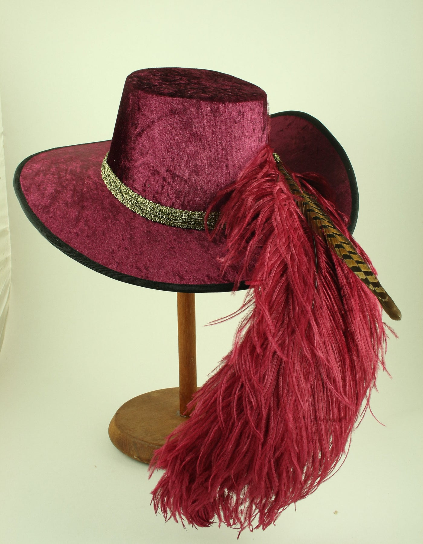Crushed Velvet Cavalier - Wine / Antique Gold / Wine Feathers - Tall Toad