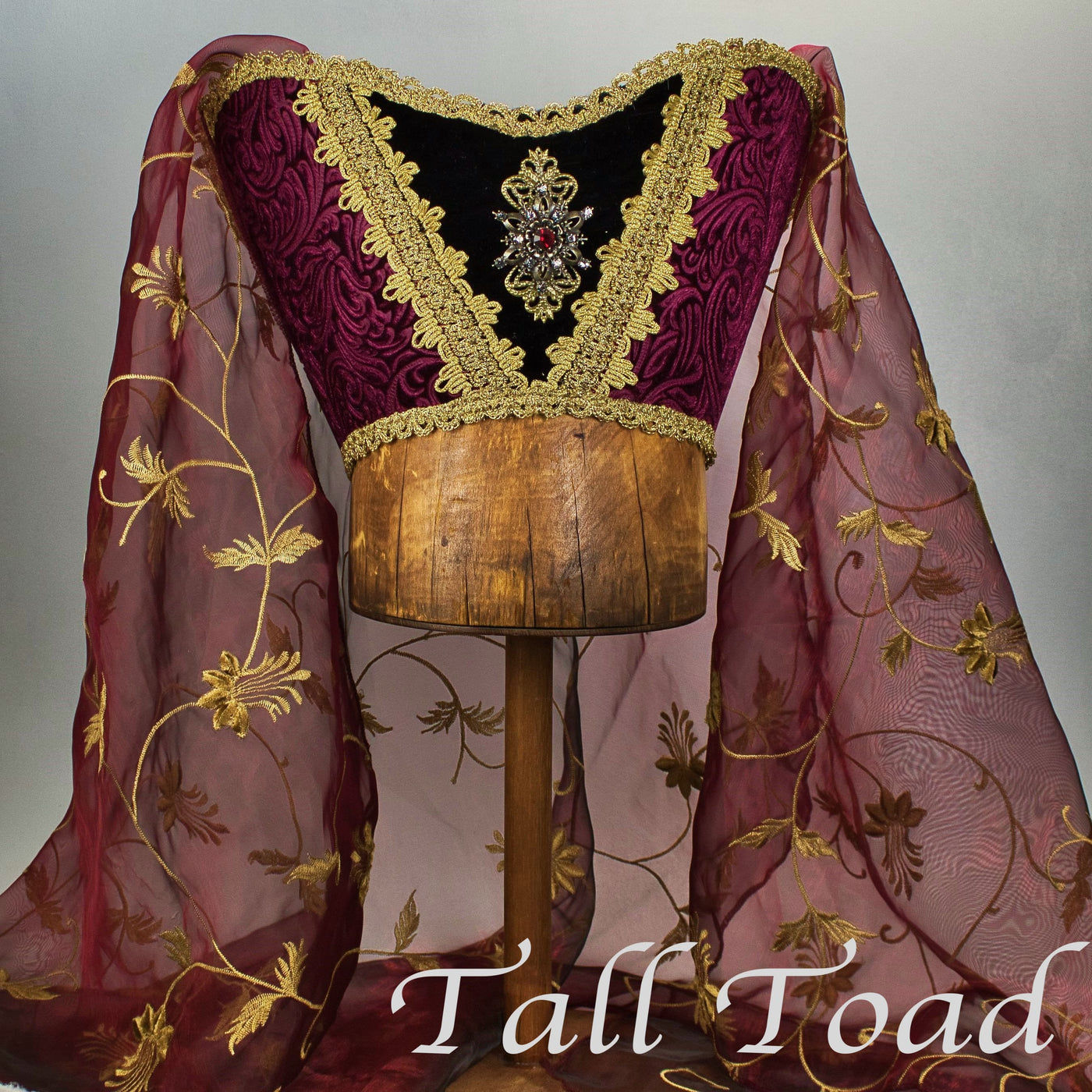 Fancy Horned Headdress - Wine / Wine Embroidered Veil / Ruby Jewel - Tall Toad