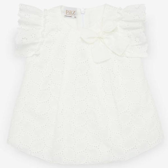 Paz Rodriguez Onda Cream Broderie Dress