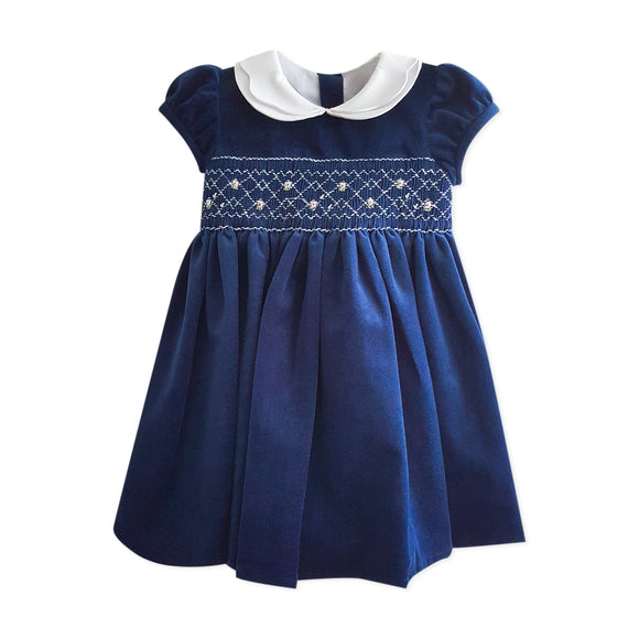Kidiwi Handmade Navy Velvet Dress