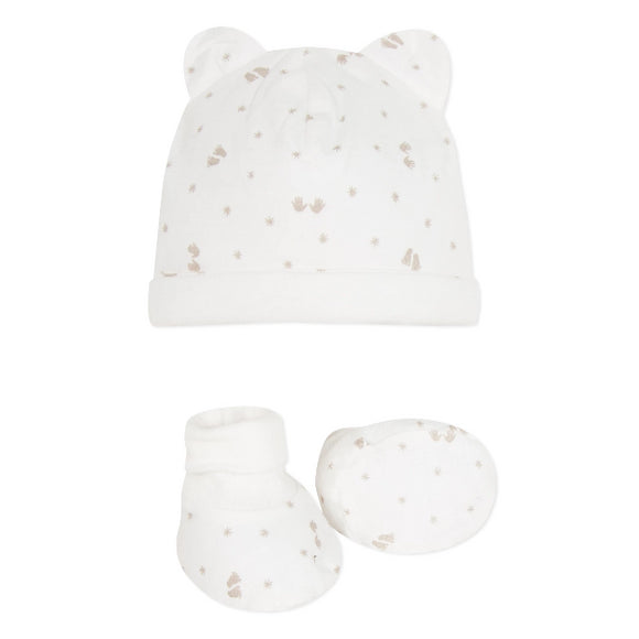Absorba Footprint Cream Padded Hat Set