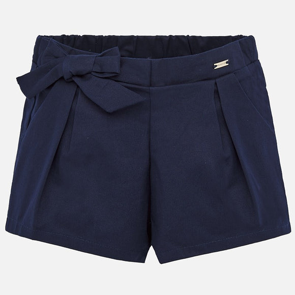 Bow Navy Satin Shorts