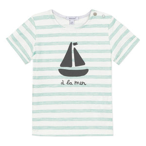 Absorba Striped Green Boat T-shirt