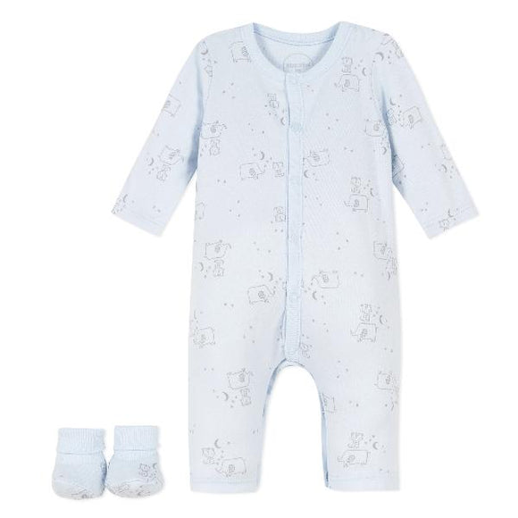 Absorba Elephants Blue Playsuit Set