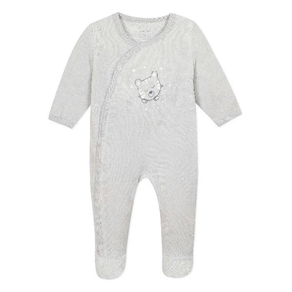 Absorba Kitten Velour Grey Sleepsuit