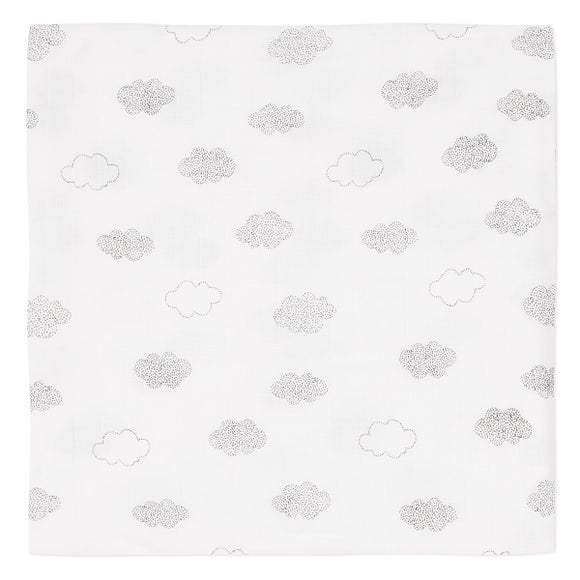 Absorba Clouds Print White Muslin Blanket