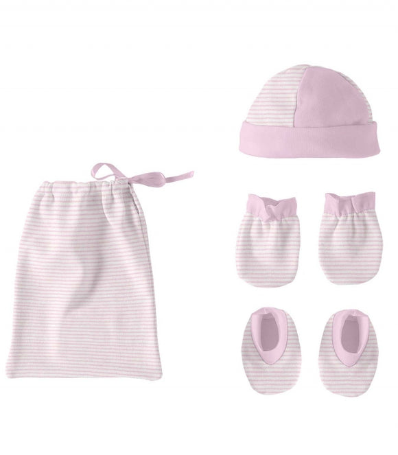 Newborn Pink Hat, Booties and Scratch Mits Gift Set