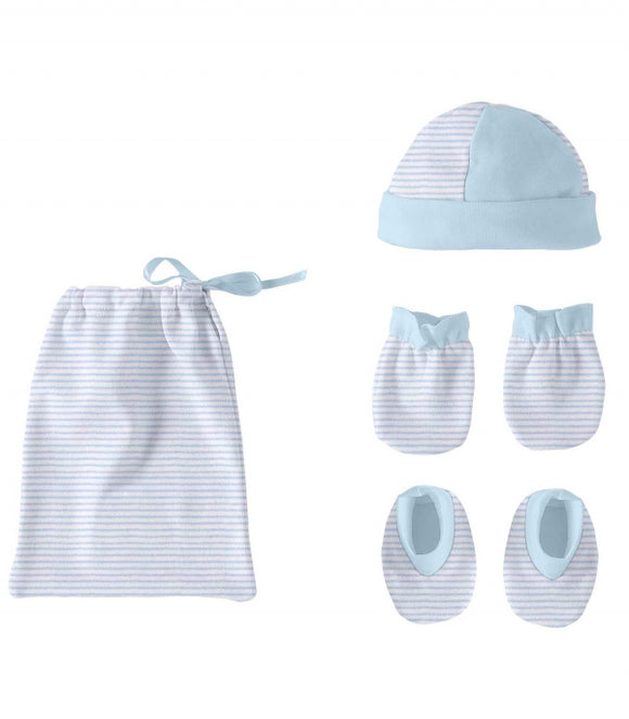 Newborn Blue Hat, Booties and Scratch Mits Gift Set