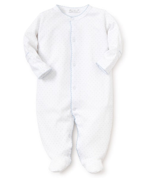 Kissy Dots White Blue Sleepsuit