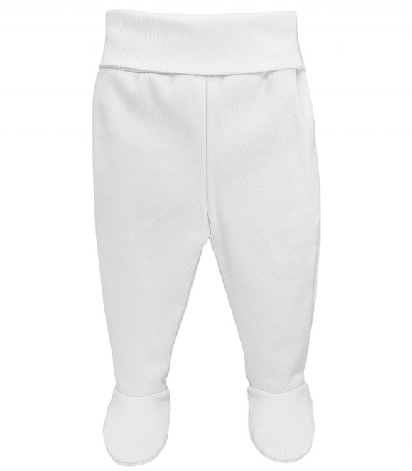 Wide Elastic Waist Footed White Trousers