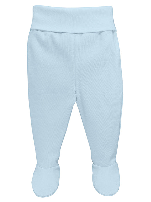Wide Elastic Waist Footed Blue Trousers