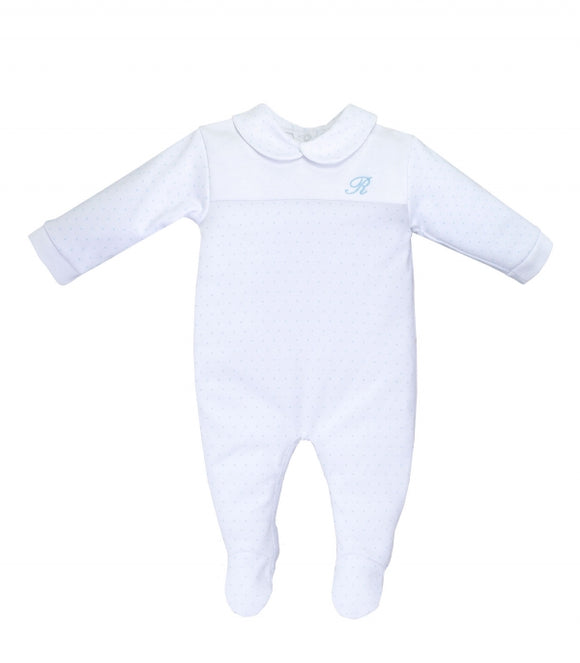 Traditional White and Blue Dot Sleepsuit with Collar