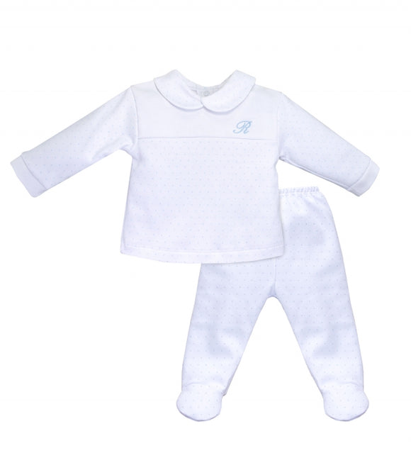 Traditional White with Blue Dot Footed Pants and Top - 2 Piece Set