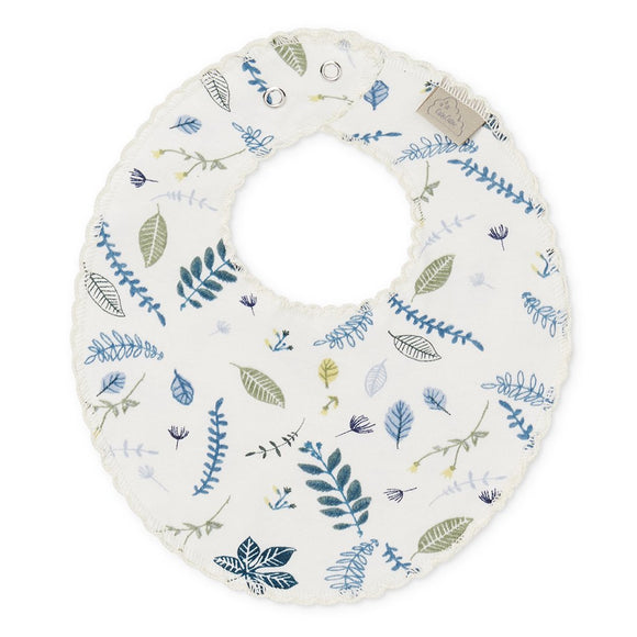 Jersey Teething Bib - Pressed Blue Leaves