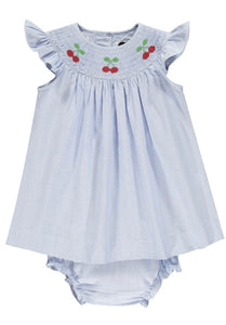 handsmocked cherry baby girl dress