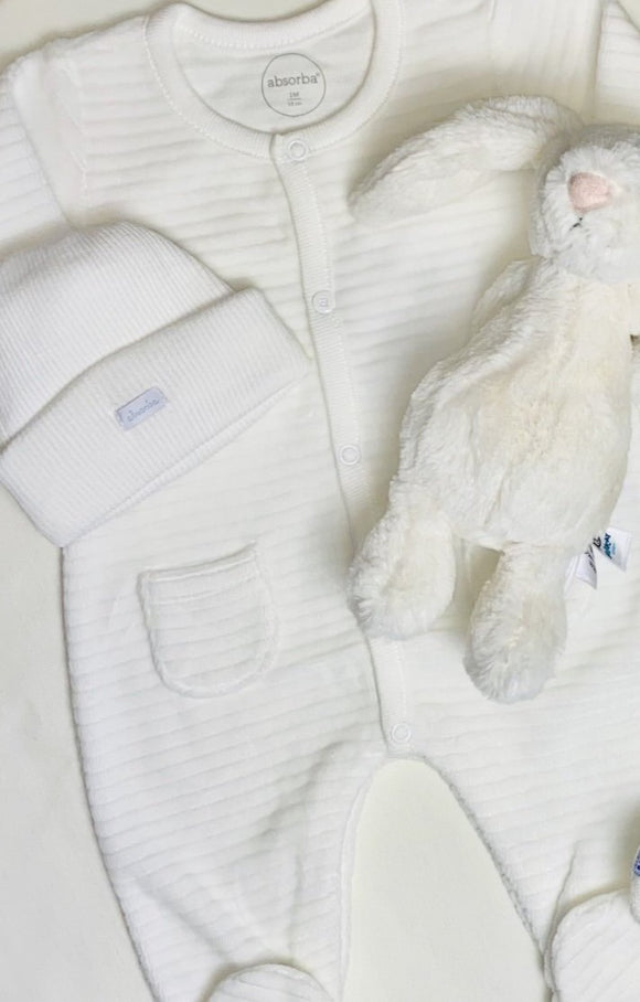 cream absorba newborn gift set with jelllycat bashful cream bunny and absorba baby grow and hat