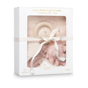 Gift Box - Printed Swaddle and Leaves Rattle - OCS Dandelion Rose