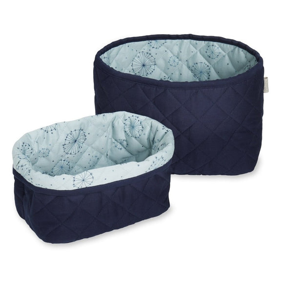 Quilted Storage Basket Set - OCS Navy