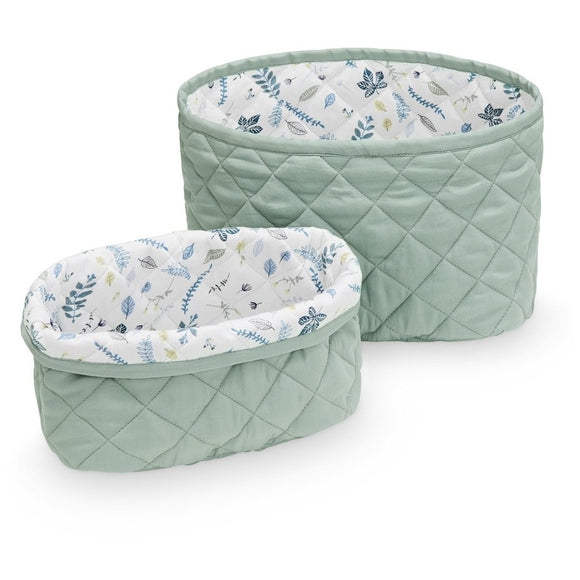 Quilted Storage Basket Set - OCS Misty Green