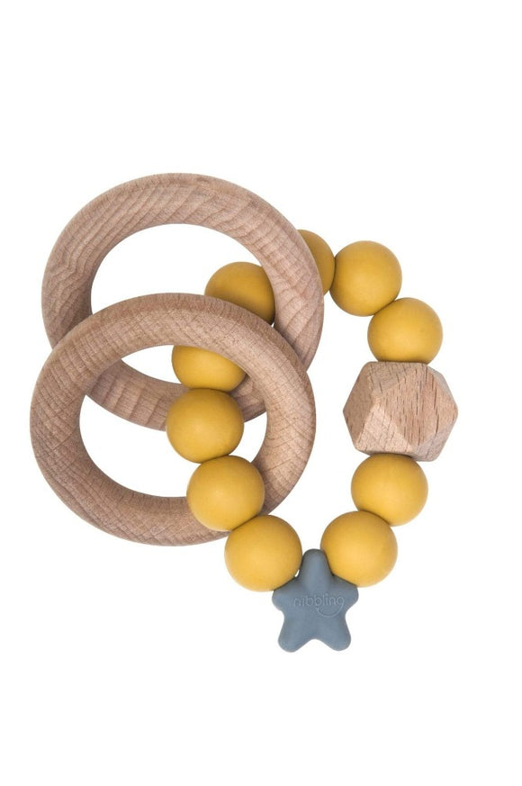 Stellar Natural Wood Teething Toy - Mustard