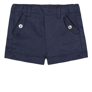 Tartine et Chocolat Ceremonie Navy Linen Shorts