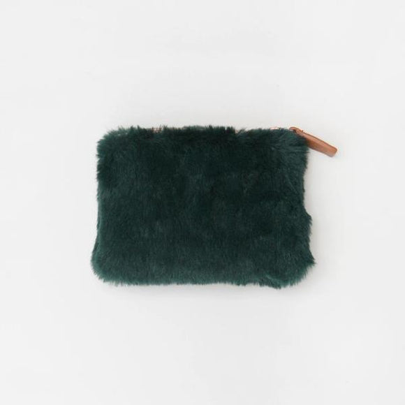 Caroline Gardner Green Faux Fur Coin Purse