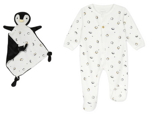 Velour Penguin All-in-One with  matching dou dou