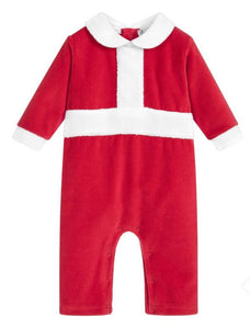 Red Velour Christmas Playsuit - 9-12m