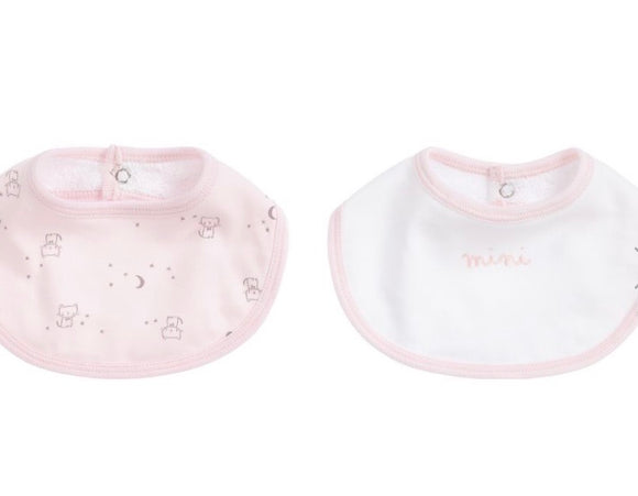 Set of 2 Pink Cotton Bibs in a gift bag