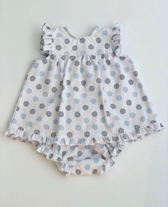 Arabella Blue Spot Dress and knickers