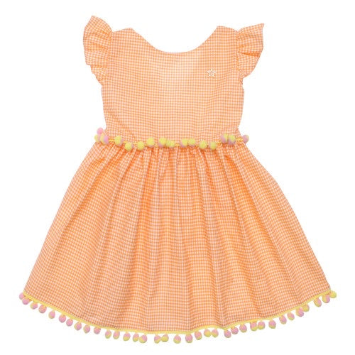 Orange and white Gingham Dress