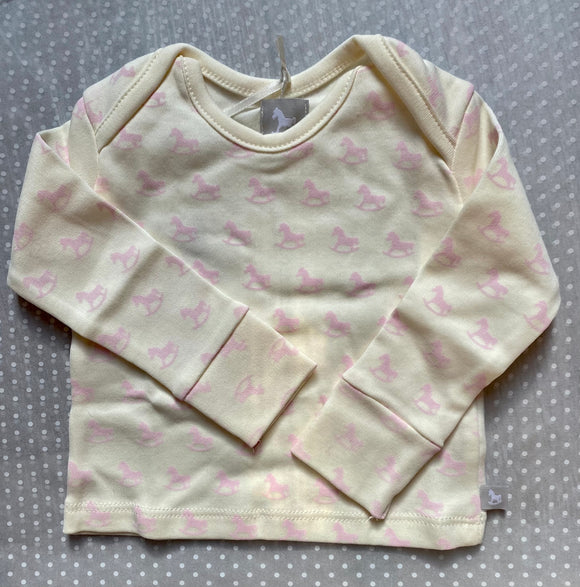 Rocking Horse Pink Print Top in 0-3m