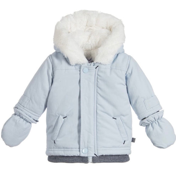 Baby Boy Pale Blue Winter Jacket with Mitts