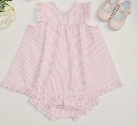 Arabella Dress and matching knickers in pink Candy stripe - size 18-24 months