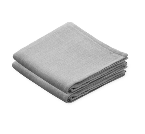 Light Grey Organic Cotton Muslin Cloths - set of 2