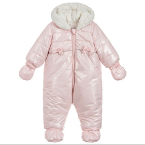 Baby Girl Pale Pink Fur Lined Snowsuit