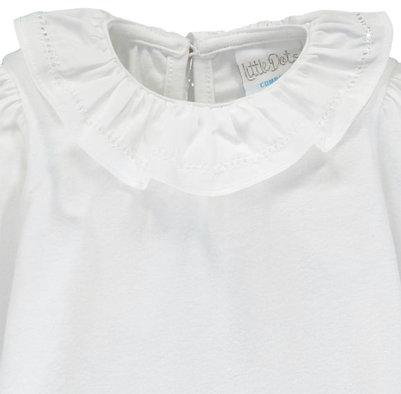 Elegant Long Sleeved T-shirt With Frill Collar