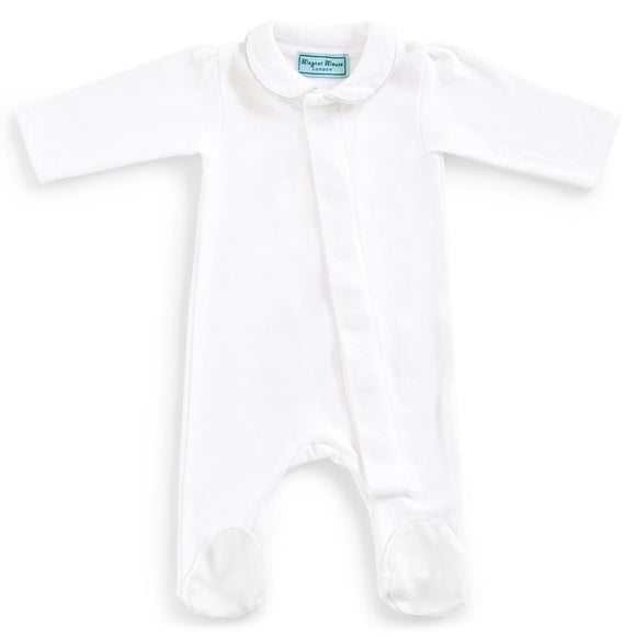 Classic Pure White Cotton Magnet Babygrow